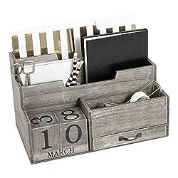 Dark Wooden Mail Organizer Desktop with Interchangeable Block Calendar