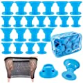 40 Packs Blue Magic Hair Rollers No Clip Silicone Curlers Professional Hair Style Tools Accessories,No Heat No Damage to Hair