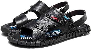 メンズサンダル 夏の軽量で快適な革のビーチシューズ、メンズゴム製滑り止めウェアラブルサンダル、漏れてつま先が付いている黒と白のオプションの靴 (色 : ブラック, サイズ さいず : 42)