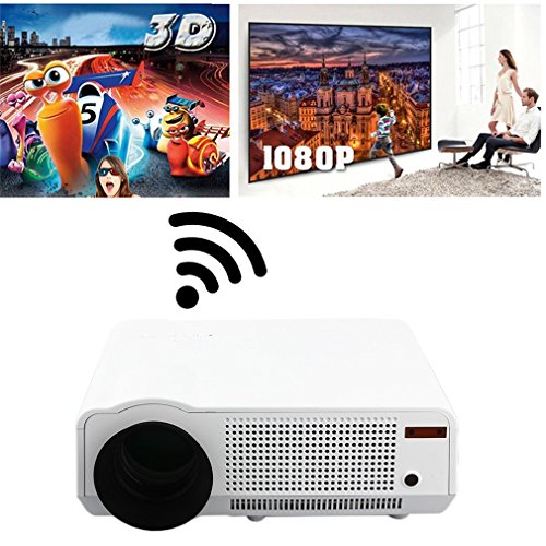 DreamlandS Portable 5000 Lumens Full HD 1080P LED86 LCD 3D WiFi Home Theater Projector Cinema Office Multimedia Projector