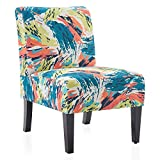 BELLEZE Armless Contemporary Upholstered Single Curved Slipper Accent Chair Living Room Bedroom, Abstract