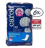 Caroli Protect + Care Hygiene-Einlagen, Extra Plus, Vorteilspack (6 x 10 Stück), hautfreundlich und angenehm an der Haut, für mittlere Blasenschwäche