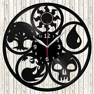Magic The Gathering Vinyl Record Wall Clock Decor Handmade Unique Design Original Gift
