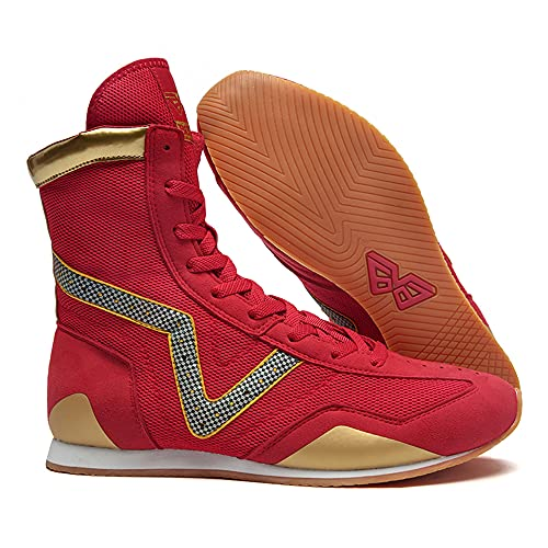 SAMEVE Combat Boots Boxing Shoes for Men Men's Wrestling Shoes AS202090 (Red/Gold,...