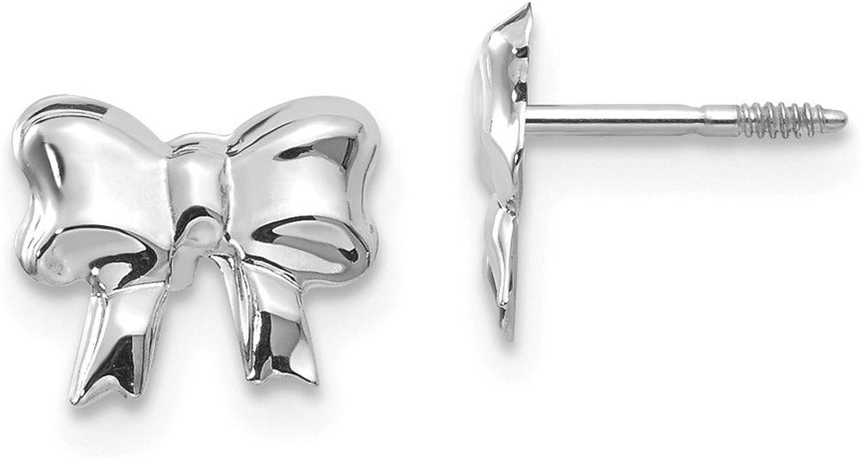 Beautiful White gold 14K 14k White gold Madi K Rhodiumplated Bow Screwback Post Earrings