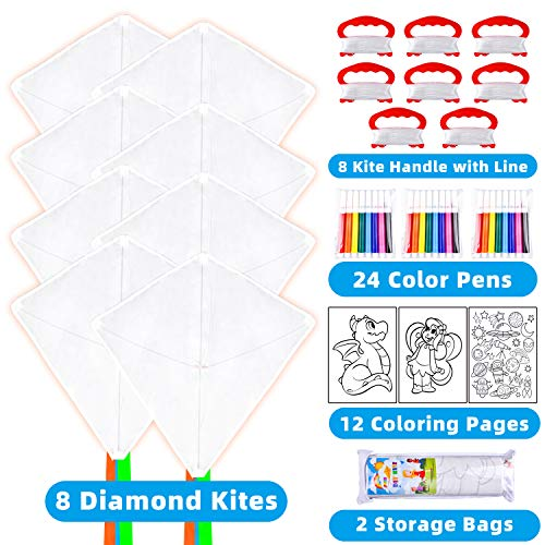 JOYIN 8 Packs DIY Diamond Kite with Watercolor Pen Easy to Fly Beginner Kites for Kids and Adults, Beginners and Pros to Spend Time with Friends and Family for Outdoor Activity, Summer Games