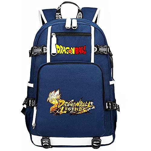 ZZGOO-LL Dragon Ball Son Goku/Vegeta IV/Torankusu Mochilas de Anime Mochila Escolar para Estudiantes Mochila para portátil con Puerto de Carga USB-B