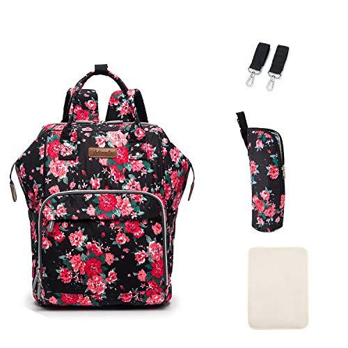 Multifunción pañal bolsa de pañales cambiador de viaje, gran capacidad mochila bolsa reutilizable, ligero elegante Durable Mochila con bolsillo botella aislante para mamá y papá (Mudan Flor)