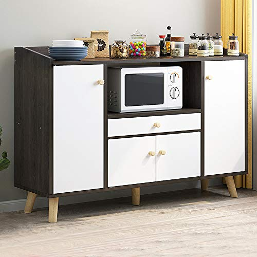 HomeSailing Kitchen Wooden Sideboard Cupboard and Buffet Table with Doors and Drawers Multipurpose Living Room Unit Storage Side Chest Cabinet Dinning Room Bedroom (Black)