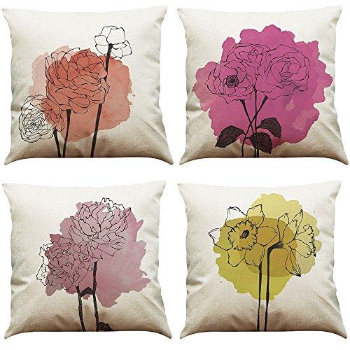 MStar: 4 federe per cuscino con decorazione a stampa, motivo con alberi colorati, tessuto traspirante in cotone e lino, dimensioni 45x 45cm, Cotone di lino, Muster C, 45 x 45 cm