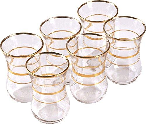 Pasabahce theeglas set 6 stuks 42011 goud glas 6 personen theeglazen service warme drank Turkse thee voor genot en ontspanning traditioneel