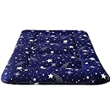 Navy Starry Sky Japanese Floor Futon Mattress, Tatami Floor Mat Portable Camping Mattress Kids Sleeping Pad Foldable Roll Up Floor Lounger Couch Bed Queen Size with Mattress Protector Cover