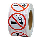 Hybsk No Smoking Logo Warning Stickers 1.5' Round 500 Total Per Roll (1.5 inch)