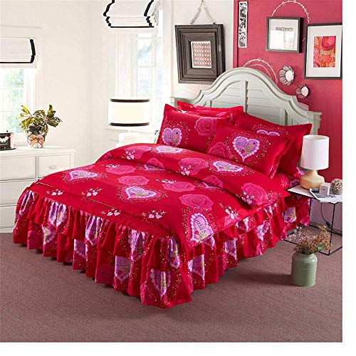 352 FUKA Bedding Set Princess Cotton Ruffle Duvet Cover Bed Skirt Pillowcases Queen King Size C Duvet cover: 180x220cm, Bed skirt: 150x200cm