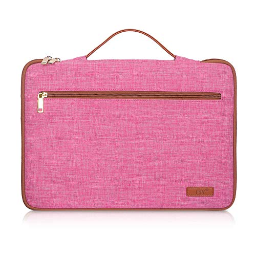 FYY 14-15.6' Laptop Sleeve Case Cover Bag for 15' MacBook Pro 2018 2017 2016, Ultrabook Notebook Carrying Case Bag for 14'-15.6' ASUS Acer Lenovo Dell HP Toshiba Chromebook Canvas Pink