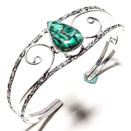 jewels paradise Preciosa pulsera de cobre malaquita Kada hecha a mano de plata de ley 925 chapada en plata de ley – Pulsera de tamaño ajustable – (SF-1540)