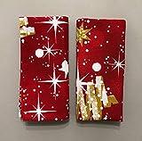 1KDreams Set 4 Tovaglioli Natale in Cotone. Design Raffinato e Moderno. Sfondo Rosso. Shabby Chic in Chiave Moderna. Made in Italy. (Set 4 40x40 cm)