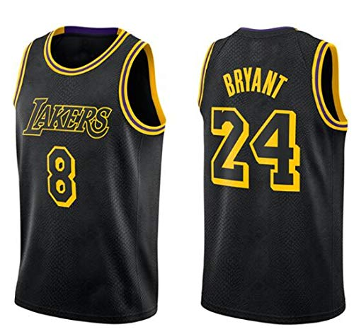 canottejerseyNBA Kobe Bryant - Los Angeles Lakers #8 - #24, Retro Vintage, Basket Jersey Maglia Canotta, Swingman Ricamata, Abbigliamento Sportivo (XXXL)