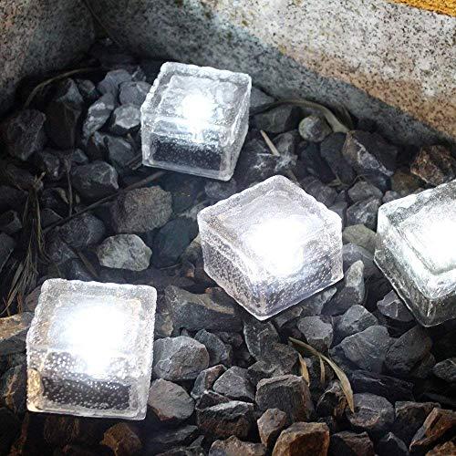 LED Solar Bodenleuchten Glas Pflastersteine Wegbeleuchtung Solarlampen Außen Dekoration Lichter für Garten, Balkon und Terrasse 4er Set (Weiß)