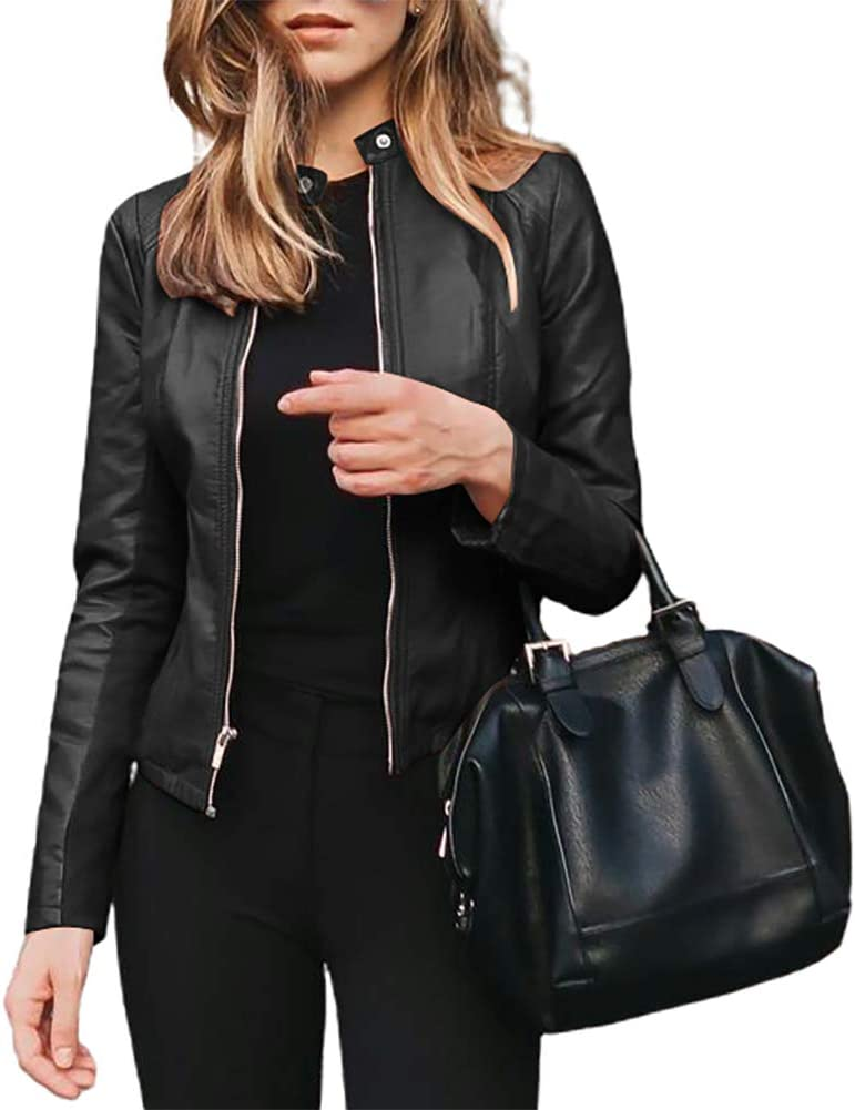 dSNAPoutof Women Suit Jacket, Fashion Autumn Winter Jacket Short Faux Leather Slimi Fitting Suit Coat Outwear Coat for Girls Party Travel Outdoor Shopping Street Wear Black 4XL