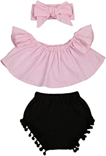 Cute Baby Girls Short Sleeve Blouse Tube Top+High Waist Pom Pom Short Pants