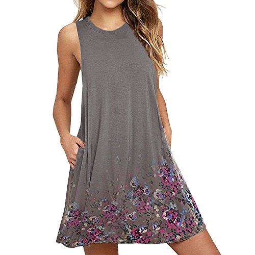 Cheapest Price! ✩HebeTop Womens Summer Contrast Hi-Low Sleevess Midi Dress Gray