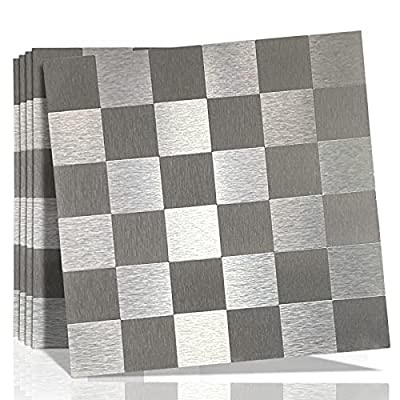 "Homelet 5-Sheet Peel and Stick Backsplash Mosaic Tile for Kitchen, 12"" x 12"" Self Adhesive Metal Aluminium Silver Tile Wall Tile Stickers for Bathroom Living Room"