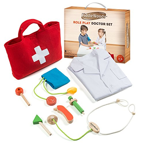 Image of Kiddie Woods Wooden Toy Doctor Kit for Kids, Pretend Medical Play Set for Boys and Girls, Educational for Children & Older Toddlers