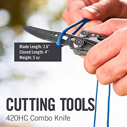 LEATHERMAN - Skeletool Lightweight Multitool with Combo Knife and Bottle Opener, Stainless Steel