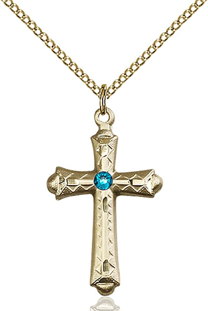 Bonyak Tampa Mall Jewelry Gold Filled mart Cross Blue December with 3mm Pendant