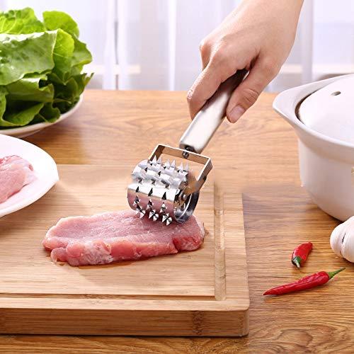 Jipai Fleischklopfer Fleischzartmacher Fleischsteaker Steaker für Fleisch aus Edelstahl 21.3x4cm