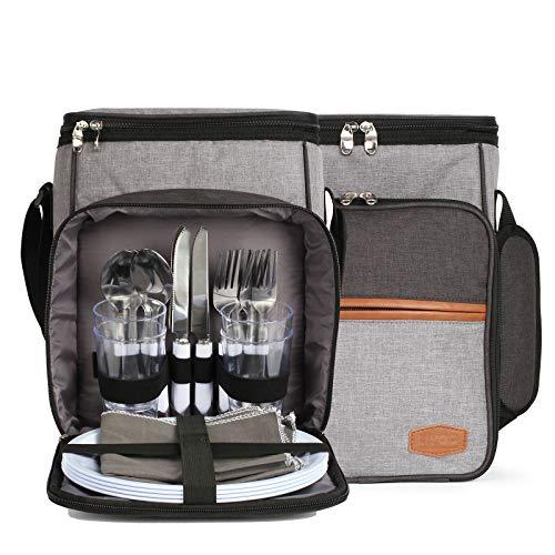 Bolsa de picnic con vajilla para 4 personas – Set de picnic con bolsa refrigeradora muchos accesorios – Bolsa de almuerzo aislante con correa acolchada – Bolsa térmica para picnic y viajes