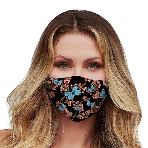 Washable Face Mask with Adjustable Ear Loops & Nose Wire - 3 Layers 100% Cotton Inner Layer - Cloth Reusable Face Protection with Filter Pocket - (Blue Butterfly Floral)
