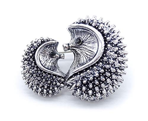 irresistible1 Cute Adorable Hedgehog Mum and Baby Love Brooch Pin with Black Crystals Eyes