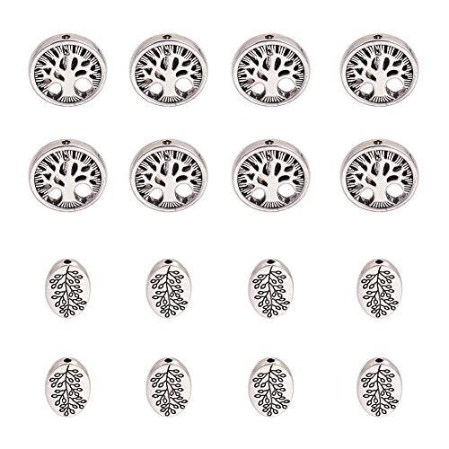 PandaHall Elite 60 cuentas espaciadoras de plata envejecida, ovaladas y redondas, de aleación tibetana, árbol de la vida, para joyas, joyas, collares y pulseras