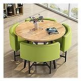 PIVFEDQX Esstisch-Set für Esszimmer und Küche, Empfangstisch und Stuhl-Set Nordisch-minimalistischer runder Esstisch aus massivem Holz Büromöbel Konferenzraum Coffee Shop (Farbe: Grün)
