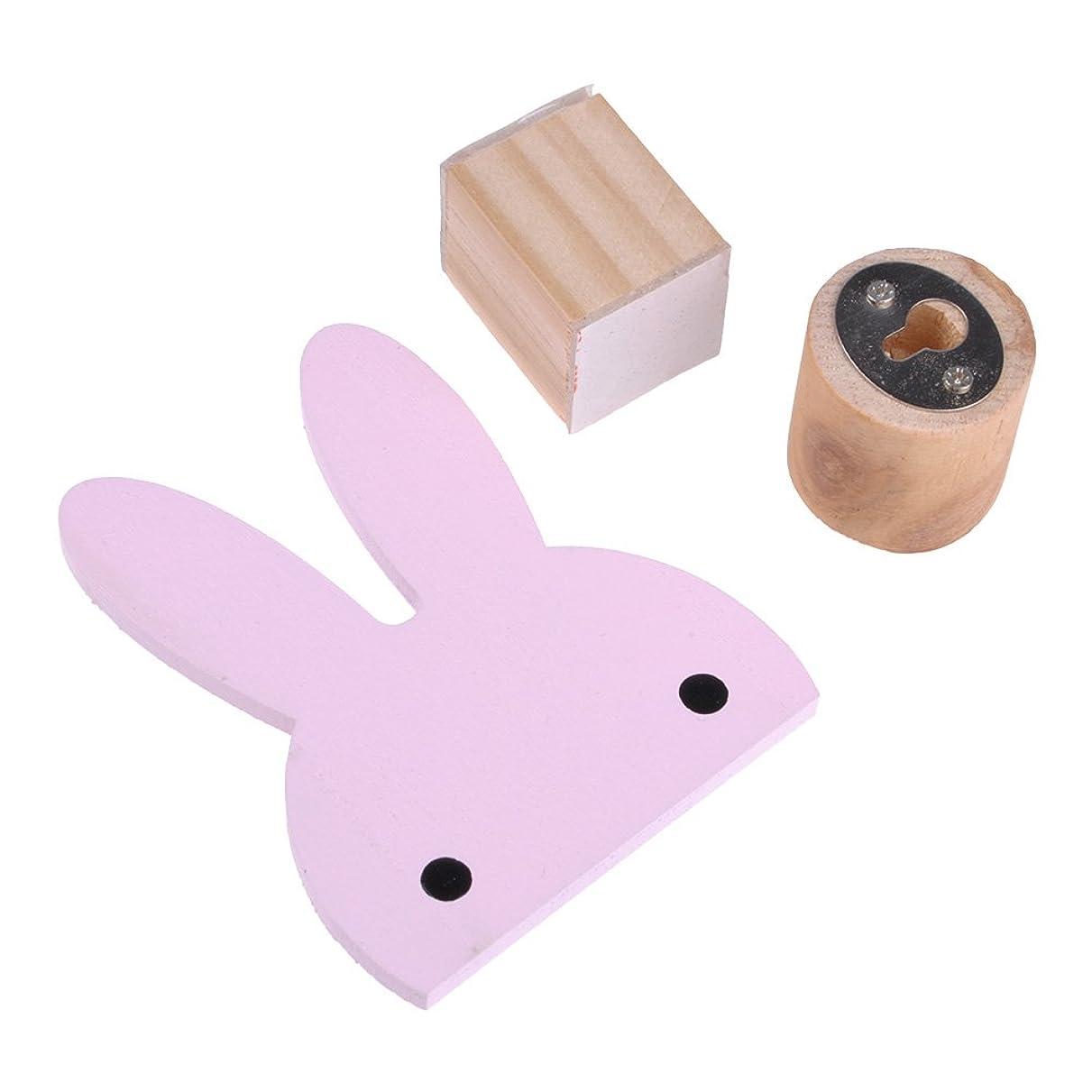 気味の悪い居住者スリラー木製 ウサギの形 壁装飾 フック 帽子ジュエリーハンガー タオル収納 包装付く ピンク