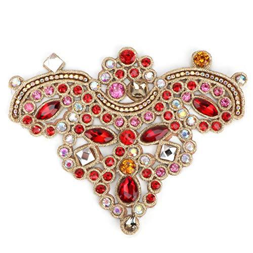 Dibiao Apliques de Cristal de Diamantes de Imitación 2 Piezas Coser en Parche de Perlas de Imitación Apliques de Costura DIY Parche de Cristales para Ropa Bolsa de Zapatos- Rojo