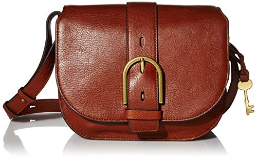 Fossil Women's Wiley Leather Saddle Bag Handbag, Brown