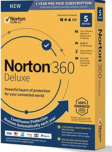 Symantec Corporation 21390011 Norton 360 Deluxe For Up To 5 Devices Provides Powerful Layers product image