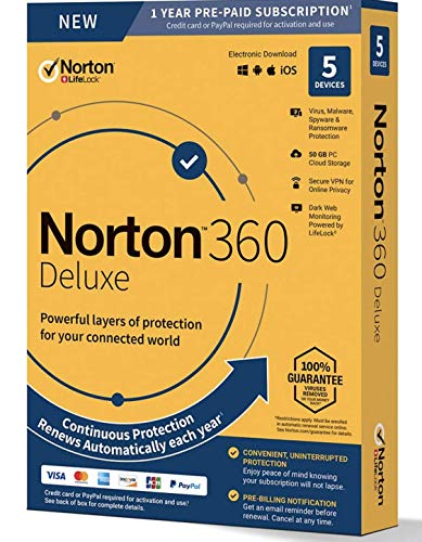 Symantec Corporation 21390011 Norton 360 Deluxe For Up To 5 Devices Provides Powerful Layers Of Protection Fo