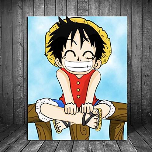 tzxdbh Een stuk Cartoon Anime Canvas Schilderij gedrukte muurschilderingen voor woonkamer Home Decor Moderne muurkunst olieverfschilderij Poster 12X15 inch Met frame.