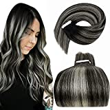 LaaVoo Tape in Hair Extensions Human Hair Ombre Balayage Dark Color Natural Black to Silver Grey Highlights Remy Skin Weft Tape in Human Hair Extensions 16inch 20pcs/50g