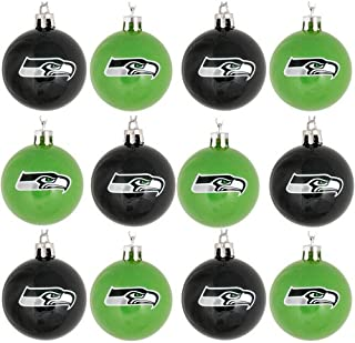 Forever Collectibles NFL Football Plastic Ball Holiday Tree Ornament Set (12 Pack) - Pick Team