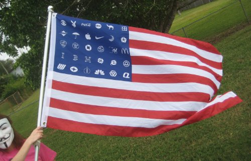 SALE PRICE! Corporate American America USA Flag Protest Banner 5'x3' ANONYMOUS NWO Police State