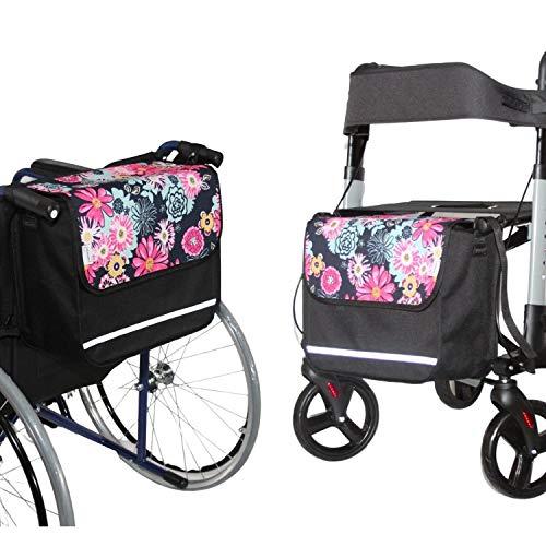 SENIORI Rollator/Rollstuhl Tasche Rollatortasche Rollstuhltasche Universal (4. Blumen)