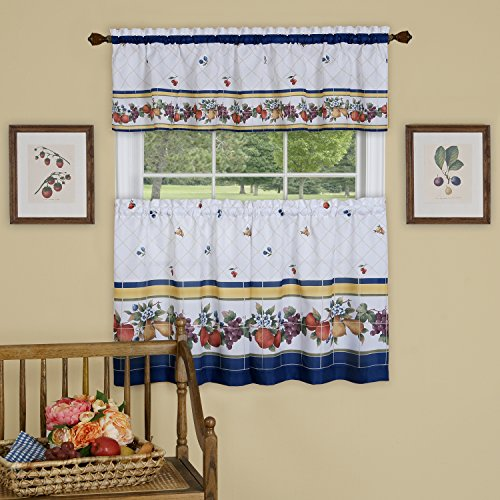 "Achim Home Furnishings, Multi Fruity Tiles Window Curtain Tier & Valance Set, 58"" X 36"", 58 x 36"
