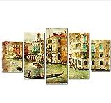 sxkdyax Sin Marco Lienzo Pinturas Sala decoración del hogar Pinturas abstractas 5 Piezas Venecia Agua Ciudad Barco Paisaje Carteles Arte de la Pared