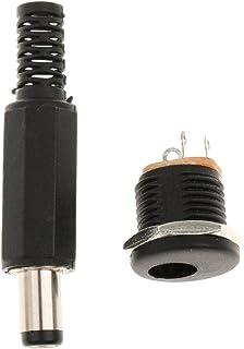 Frans stopcontact DC bus barrel jack stekker 5,5 x 2,1 mm adapter netstekker voor solderen zwart