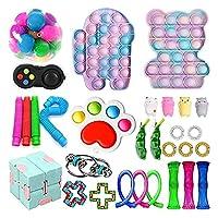 フィジットのおもちゃパックタイ染料プッシュポップバブルスケシッシュストレスリリーフ防止感覚おもちゃセット子供大人 (Color : B-30pcs)